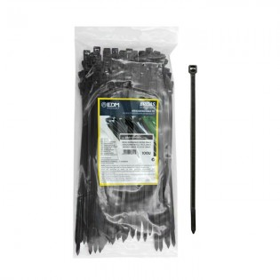 Bridas reutilizables negras 200x4.5 mm. 100 u.
