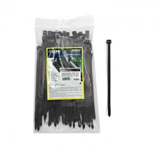 Bridas reutilizables negras 150x4.5 mm. 100u.