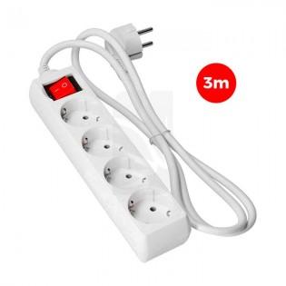 Base multiple 4 tomas T/TL 3 mts.3x1.5mm. C/ Interruptor