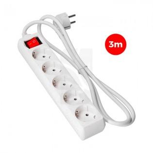 Base multiple 5 tomas T/TL 3 mts. 3x1.5 mm.C/ Interruptor