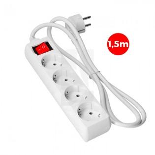 Base multiple 4 tomas schuko C/ Interruptor 1.5 mts